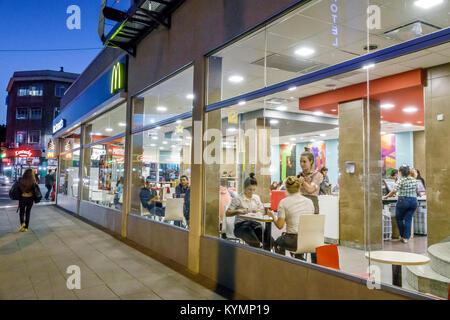 Buenos Aires Argentina,Palermo,night evening,McDonalds,restaurant restaurants food dining cafe cafes,American hamburger,fast food,window,lighting,view