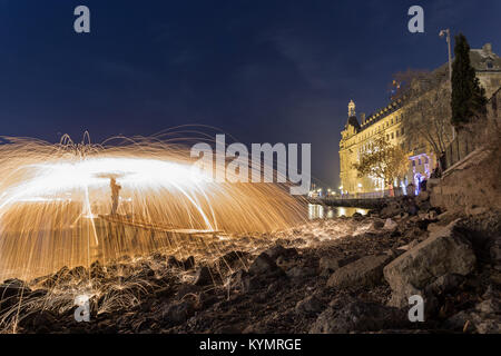 Steel wool long exposure shot of Haydarpasha railway station locates in Istanbul,Turkey.19 December 2015. - Stock Photo