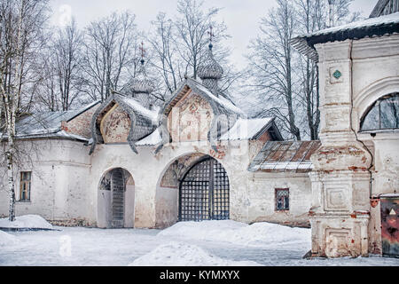 Ancient gate belltower of the Znamensky cathedral in Novgorod, Russia. - Stock Photo