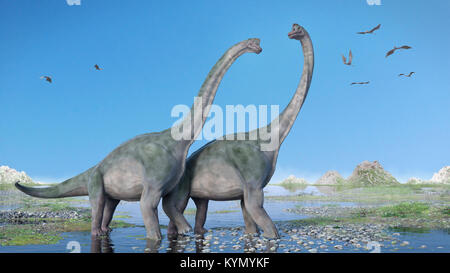 couple of Brachiosaurus altithorax and a flock of Pterosaurs in a scenic Late Jurassic landscape (3d illustration) - Stock Photo