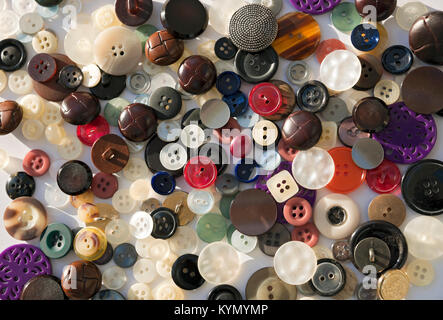 Close up of Assorted buttons button assortment - Stock Photo
