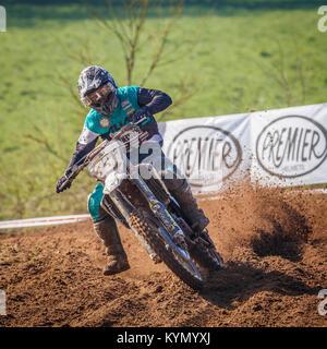 Jordan Eccles on the HUsqvarna MX2 at the 2017 Maxxis British Championship, Cadders Hill, Lyng, Norfolk, UK. - Stock Photo