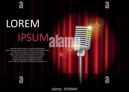 Theater stage with red curtain and spotlight with space for text. Poster for concert, party, theater, circus or - Stock Photo