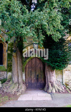 The North door to St. Edward's Church Stow-on-the-wold, The Cotswolds, UK - Stock Photo