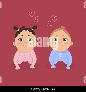 Newborn baby girl and boy sitting together - Stock Photo