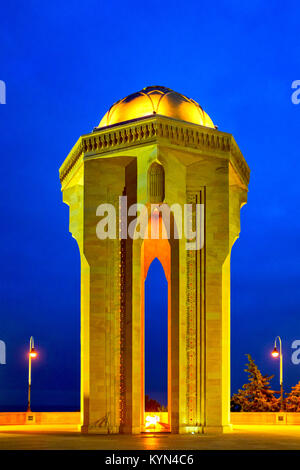 Eternal flame memorial in Martyrs' Lane, Baku, Azerbaijan - Stock Photo