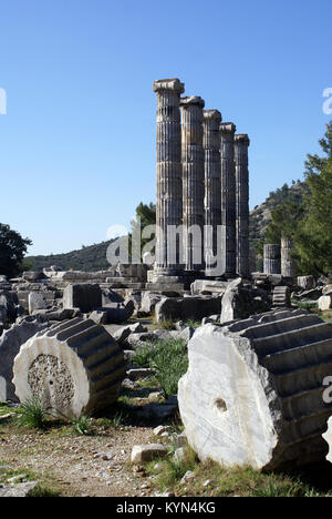 Ruins of Athena temple in Priene, Turkey - Stock Photo