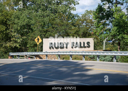 Ruby Falls is located at Lookout Mountain near Chattanooga, Tennessee and at 145 feet tall is the world's tallest - Stock Photo