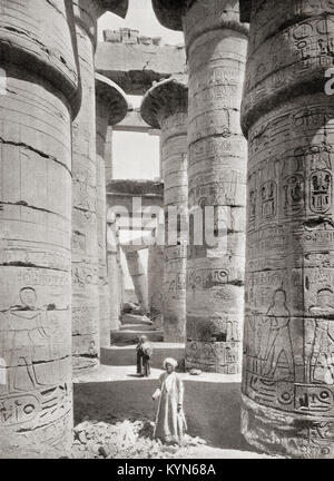 Pillars of the Great Hypostyle Hall from the Precinct of Amun-Re in the Great Temple at Karnak, Egypt.   From The - Stock Photo