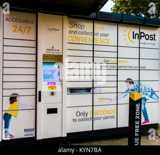 InPost parcel locker (national network click and collect delivery service, accessible 24/7) in South Ealing, London - Stock Photo