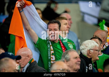 CARDIFF, WALES - OCTOBER 09: Irish fans ahead of the FIFA World Cup qualifying match between Wales  and Ireland - Stock Photo