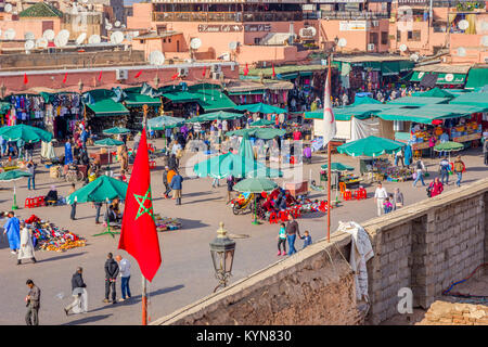 MARRAKECH, MOROCCO - DECEMBER 11: Crowded Jemaa el-Fnaa square from above, Marrakech. December 2016 - Stock Photo