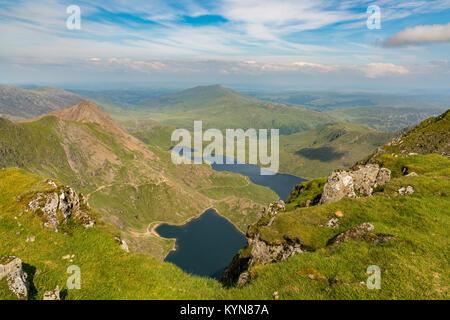 View from Mount Snowdon, Snowdonia, Gwynedd, Wales, UK - looking northeast at Crib Goch, Glaslyn and Llyn Llydaw