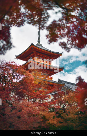 Kiyomizu-dera Sanjunoto pagoda surrounded by red leaves of Japanese maple trees. Autumn in Kiyomizu-dera Buddhist - Stock Photo