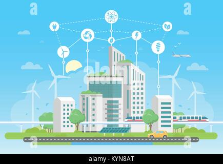 Eco-friendly housing complex - modern flat design style vector illustration - Stock Photo