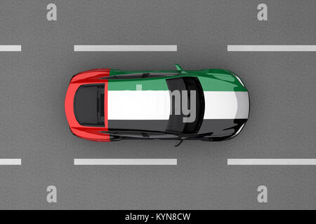 car painted from United Arab Emirates country flag. 3d rendering - Stock Photo
