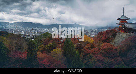 Beautiful atmospheric panoramic view of Kyoto colorful red autumn scenery view from Kiyomizu-dera, Sanjunoto pagoda - Stock Photo