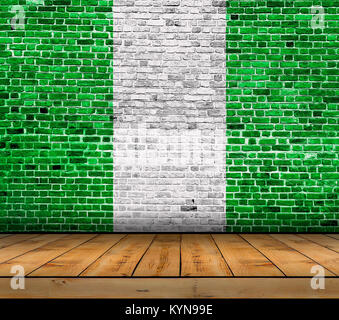 Nigeria flag painted on brick wall with wooden floor - Stock Photo