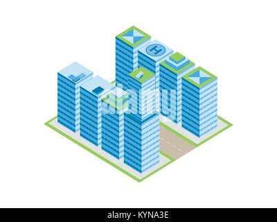 Isometric city, street with houses and skyscrapers. Isolated on white background. Vector illustration - Stock Photo
