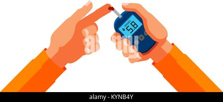 Diabetes, blood glucose test. Medicine, health concept. Cartoon vector illustration - Stock Photo