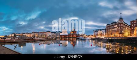 Helsinki, Finland - December 6, 2016: Panoramic View Of Pier, Embankment On Kanavaranta Street, Uspenski Cathedral - Stock Photo