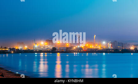 Batumi, Adjara, Georgia - May 25, 2016: Port Dock On Sunny Evening Or Night At Illuminations Lights - Stock Photo