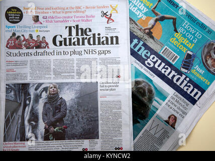 'Guardian' newspaper switches from Berliner to tabloid format, London - Stock Photo