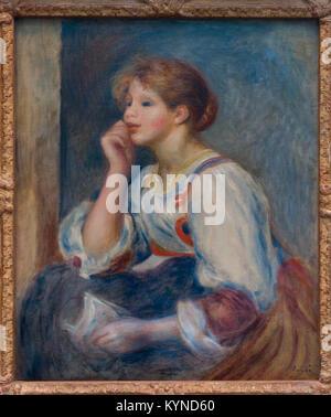 RENOIR Pierre-Auguste -  Femme à la lettre - Woman with a letter 1890 Orangerie Museum - Paris - Stock Photo