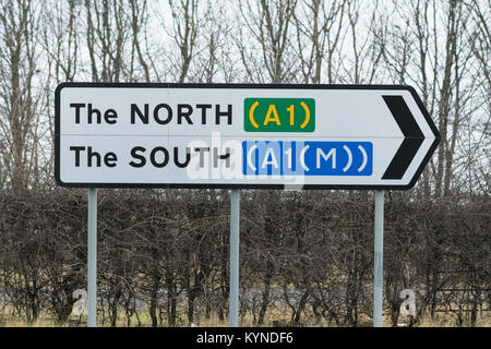 The North The South A1 A1(M) road sign - north and south pointing in the same direction - Stock Photo
