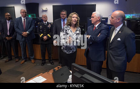 Marshall Space Flight Center International Space Station Payload Operations Director Stephanie Dudley shows Vice - Stock Photo