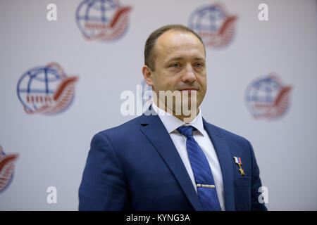 Expedition 52 backup crew member Alexander Misurkin of Roscosmos is seen during a crew press conference at the Gagarin - Stock Photo