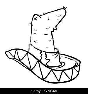sombrero hat black and white cartoon illustration isolated on white - Stock Photo