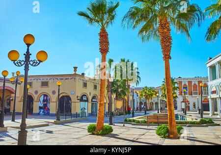 SHARM EL SHEIKH, EGYPT- DECEMBER 15, 2017: Italian style shopping quarter Il Mercato is the famous tourist location, - Stock Photo