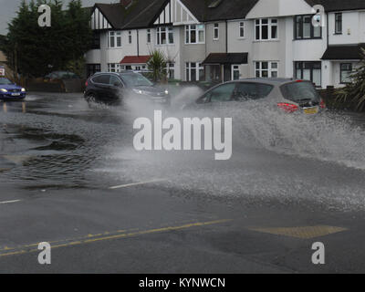 London, UK. 15th Jan, 2018. Heavy rain in Blacken, Kent, floods a main road. Credit: RM Press/Alamy Live News - Stock Photo