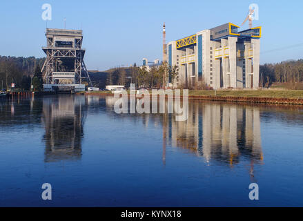 The ship lift currently being constructed (R), as well as the old lift to the left can be seen in Niederfinow, Germany, - Stock Photo