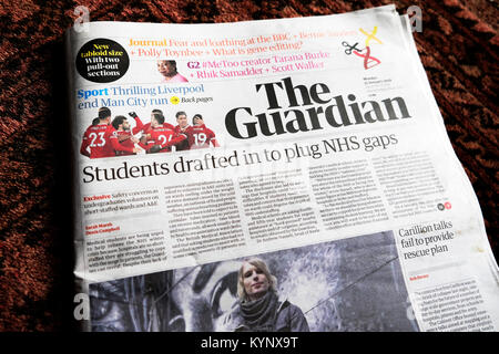 London, England UK, Monday 15 January 2018 UK Media. The Guardian newspaper today launches a smaller, simplified - Stock Photo