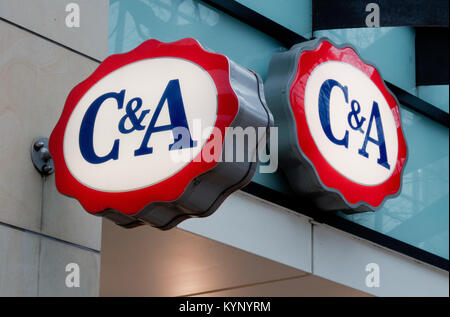 Hanover, Germany. 15th Jan, 2018. The logos of the fashion chain C&A appear on a building of the store in Hanover, - Stock Photo