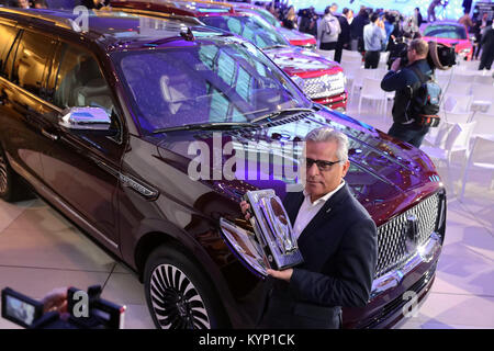 Detroit, USA. 15th January, 2018. Kumar Galhotra, Group Vice President for Lincoln and Chief Marketing Officer for - Stock Photo