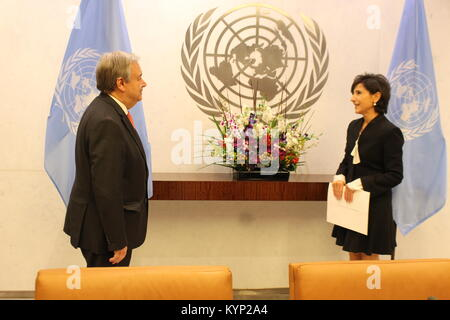 UN, New York, USA. 15th Jan, 2018. UN Sec-Gen Antonio Guterres accepted the credentials of Lebanon's new Ambassador - Stock Photo