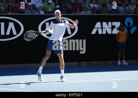 Melbourne, Australia . 16th Jan, 2018. Serbian tennis player Novak Djokovic  is in action during his 1st round match - Stock Photo