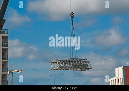 Gosford, Australia - November 16. 2017: Assembling a Tower Crane on a building construction site in Beane St. Gosford, - Stock Photo