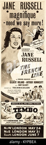 1950s old vintage original advert advertising Jane Russell in the film The French Line in magazine circa 1954 - Stock Photo