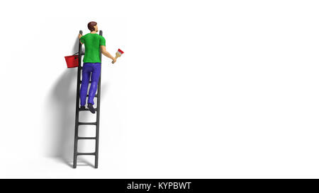 miniature figurine character with ladder and red paint in front of a wall - Stock Photo
