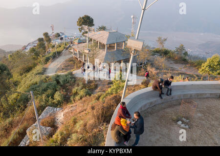 The view from Sarankot above Pokhara in Nepal Stock Photo