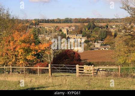 View over Cotswold farmland to the village of Blockley in the  Gloucestershire countryside England uk during Autumn - Stock Photo