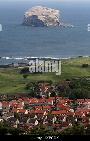 View from the top of Berwick Law over the Scottish seaside resort of North Berwick East Lothian Scotland with Bass - Stock Photo