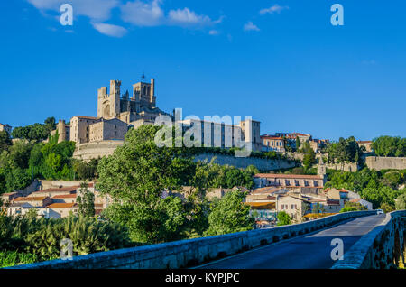 On the banks of the river Orb in the French region of the Languedoc is erected one the oldest cities of Europe, - Stock Photo