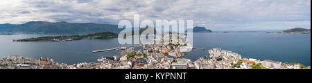 Aksla at the city of Alesund , Norway Aerial footage. It is a sea port, and is noted for its concentration of Art - Stock Photo