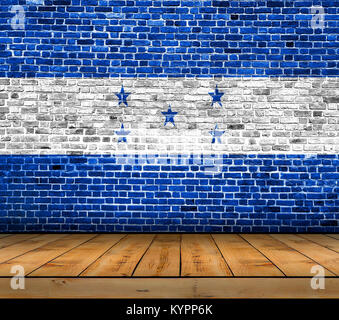 Honduras flag painted on brick wall with wooden floor - Stock Photo