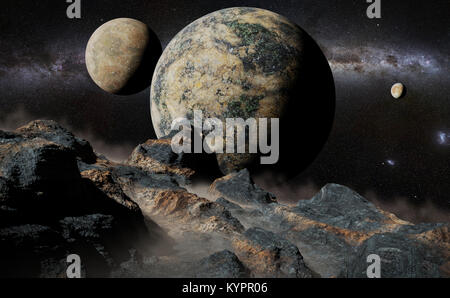 alien landscape with planet, moons and the Milky Way galaxy - Stock Photo